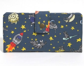 Handmade long wallet for women - Cats in the space - astro cats - ID clear pocket - ready to ship - birthday gift ideas for her