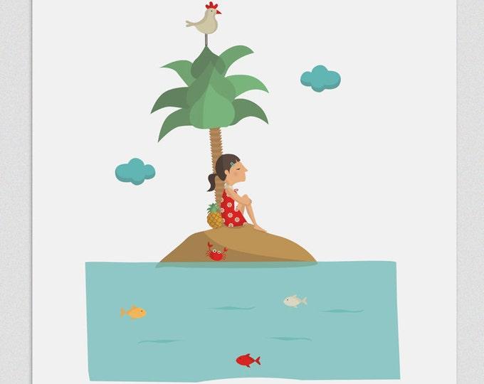 """Ilustración """"Isla casi desierta""""."""