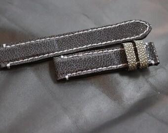 Handmade 20mm Black Stingray Watch Strap