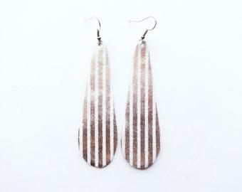 Silver Faux Leather Earring / Extra Large Earring / Teardrop Earring / Statement Earring / Diffuser Jewelry / Long Earring / Lightweight