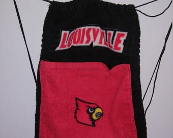 Customized Black/Red University of Louisville Towel Drawstring Bag Backpack