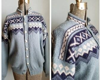 vintage nordic fair isle cardigan sweater