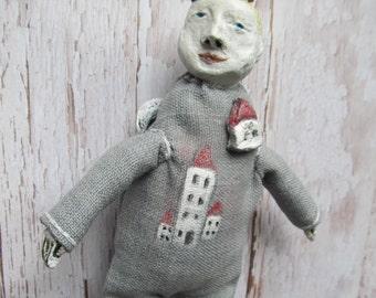Art- doll angel made of papier mache, angel-doll.