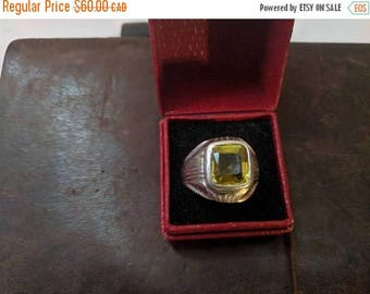 ON SALE Vintage Silver and Yellow Glass Ring