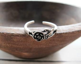 Sterling Silver Rose Ring-Flower Ring-Boho Flower Ring-Gift for Girls-Girlfriend Ring-Gift for Women-Hippie Floral Ring-Adjustable Ring Band