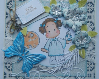 carte d'anniversaire shabby chic, thème StarWars avec une petite princesse leia