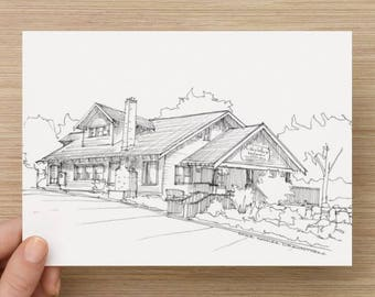 Ink Sketch of McKay's Cottage in Bend, Oregon - Drawing, Art, Restaurant, Food, Marionberry, Architecture, Pen and Ink, 5x7, 8x10, Print