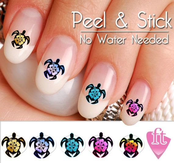 - Turtle Sea Turtle Hibiscus Flower Nail Art Decal Sticker Set
