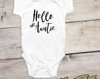 SALE - Pregnancy Announcement Onesie® Hello Aunt Onesie® Baby Reveal Birth Announcement to Family Aunt to Be