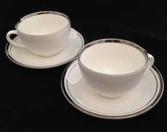 White Butterfly Ceratech Designed by England Set of Two Tea Cup and Saucers
