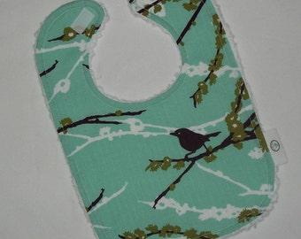 Plum Dewberry Sparrows and Chenille Boutique Bib - SALE