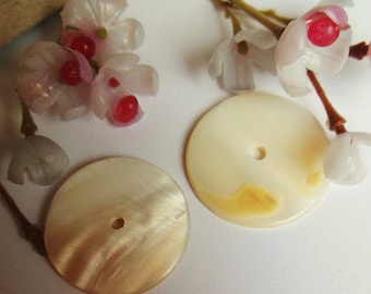 set of 2 mother of Pearl rondelle beads