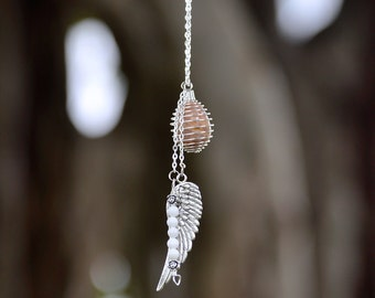Angel Wings Crystal Cage Necklace | White Jade Crystals Silver Chain | Choose Sets by Zodiac or Chakra | Reiki Yoga Healing Jewelry
