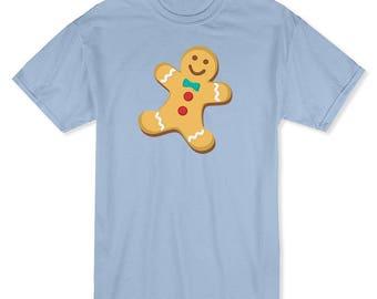 Christmas Cute Gingerbread Cookie Graphic  Men's Light Blue T-shirt