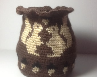 Tapestry Crochet Basket brown with squirrels and acorns, unique basket,  nature container, soft storage basket, organizing bin, clearance