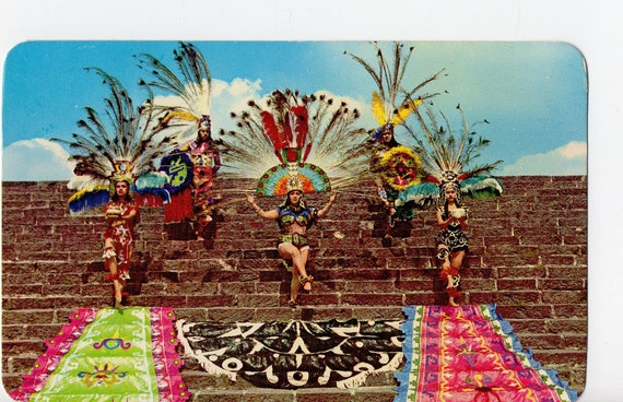 Vintage Aztec Dancers Postcard