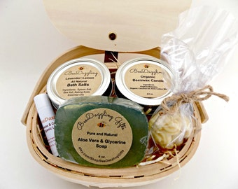 Spa Gift Basket, Beeswax Candle, Aloe Soap Bar, Lip Balm, Lotion Bar, Bath Salts, Organic Spa Gift, Spa Kit, Spa Gift Set, Spa Box, Get Well