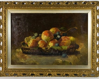 Colourful 19th Century Victorian Still Life of Peaches & Grapes in a Basket Oil