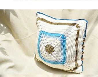 Crochet flower pillow cover, Crocheted cushion ,crocheted flower pillow case ,blue-white cushion,square pillow cover