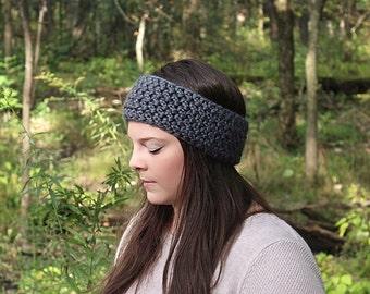 Grey Earwarmers, Grey Headband, Grey Crochet Headband, Grey Winter Headband, Grey Crochet Earwarmers, Grey Chunky Headband, THE CASSIA