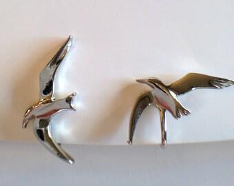 Vintage silver seagull bird earrings