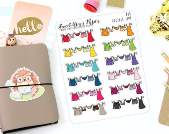 Laundry Planner Stickers - Laundry Stickers - Chore Stickers - Doodle Stickers - Wash Clothes Stickers - Fold Clothes - 885