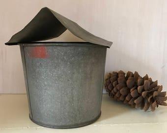 Galvanized Bucket  ~  Industrial Bucket ~ Maple Syrup Bucket ~ Sap Bucket ~ New England Maple Syrup Bucket * Vintage Galvanized Bucket