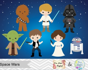 Instant Download Digital Star Wars Clipart, Digital Star Wars Clip Art, Star Wars Birthday Party, Star Wars Party Printable, 00178