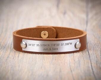 Custom Coordinates Bracelet, Latitude Longitude Bracelet, Personalized Bracelet, mens personalized bracelet, custom leather bracelet engrave