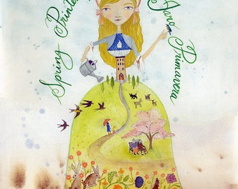 Art Print - Spring Season Princess, Woman, Watercolor Painting, Calligraphy 8x10