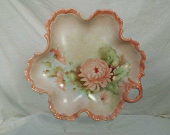 Hand Painted Porcelain Handled Tray Dish Pink Chrysanthemum
