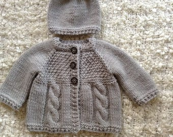 EXPRESS SHIPPING!!! Knit Baby Grey Baby Girl Sweater and Hat Set Cable Style  Acrylic Polyamide Yarn