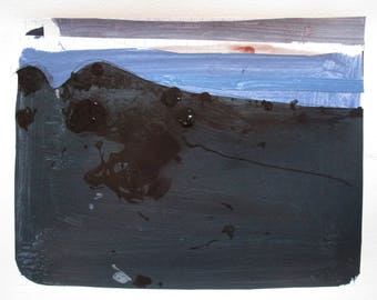 An October Night, Original Fall Abstract Landscape Collage Painting on Paper, Stooshinoff