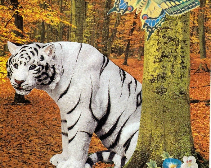 Magical White Tiger greeting card