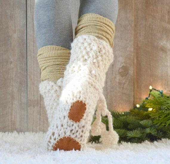 Mountain Chalet Knit Slipper Boots Pattern, Slipper Knitting Pattern ...