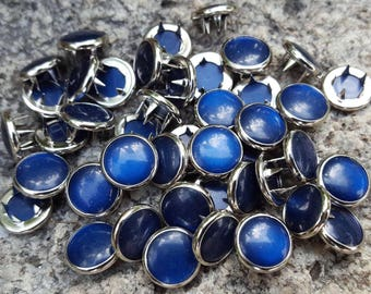 Navy Blue Pearl Snaps, Pearl Snap Fasteners, 12 mm Pearl Snaps