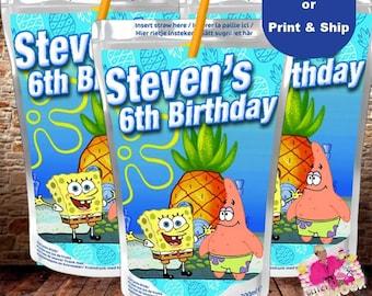Spongebob Capri Sun, juice pouch, juice box, Spongebob party favor, birthday party-DIGITAL FILE ONLY