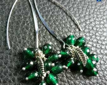 Refreshing Dark Green Agates & Plated Silver Leaf Earrings