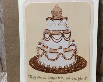 "Engagement / Marriage Greeting Card ~ ""They are no longer two, but one flesh"" Mark 10:8 Scripture ~ Wedding Cake"