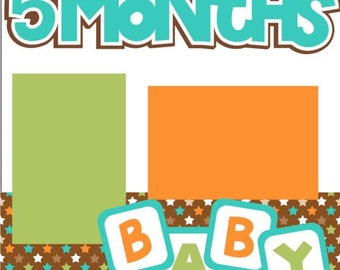 Scrapbook Page Kit or Premade Layout Baby's 5th Month (fifth) month/5 months 2-page 12X12 Boy