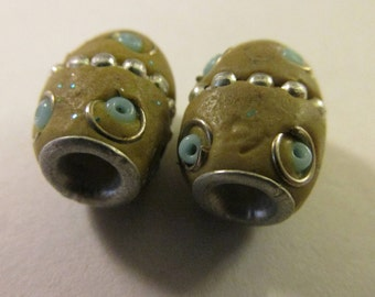 "Vintage Kashmiri Barrel Bead with Metal Studs, 1/2"", Set of 2"