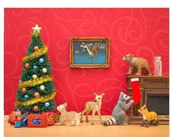 30% OFF SALE Christmas decor art print: Cozy Christmas