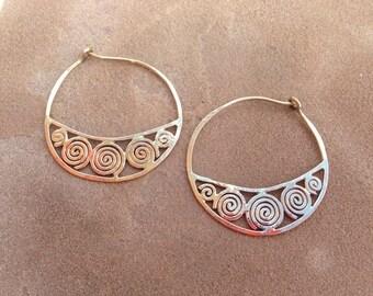 Gold Spiral Hoops
