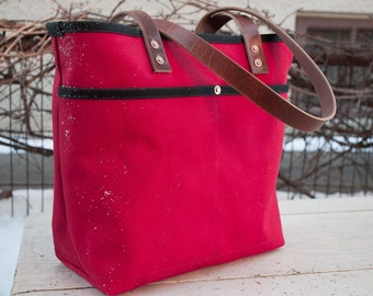 Canvas Tote Bag - FREE Standard Shipping in US - Red - Bridle Leather Handles - Copper Rivets - Unisex - Made in USA
