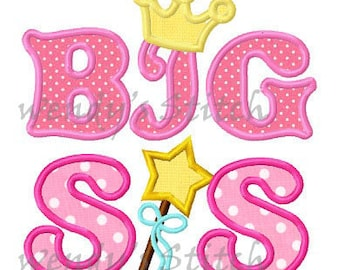 Big sis princess crown applique machine embroidery design digital pattern