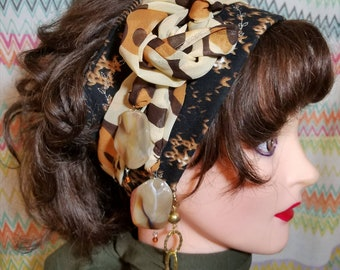 Leopard Print Bohemian Style Gypsy Headwrap Headband with  Repurposed Fabrics in  Browns,Blacks, and Golds.