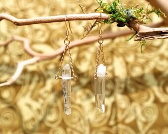 Quarzt Crystal Point 14K gold Gold Dangle Earrings