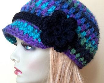 Womens Hat, Beanie, Flower,  Multi, Blue Green Purple Black, Chunky, Warm. Teens, Winter, Ski Hat, Birthday Gifts for Her, JE409BF4