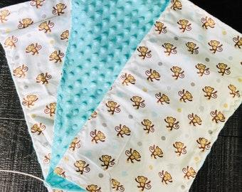 Minky monkey burp cloths