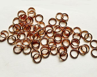 20/50/100 Regular Rose Gold Plated Jump Rings Open 7mm Jewelry Findings RRGPJRO7MM-00WD4